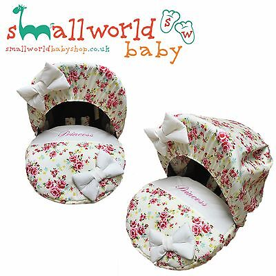 Personalised Girls Cream & Scone Floral Baby Car Seat Cover (NEXT DAY DISPATCH)