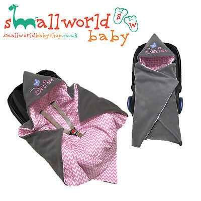 Personalised Girls Baby Car Seat Swaddle Wrap Blanket (NEXT DAY DISPATCH)