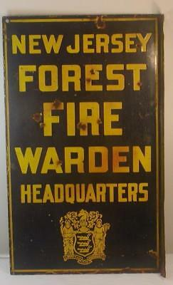 Antique New Jersey Forest Fire Warden Headquarters Double Sided Porcelain Sign