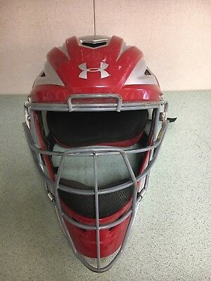 UNDER ARMOUR UAHG2-AP PRO Catchers Helmet MASK RED Adult 7-73/4 FREE SHIPPING