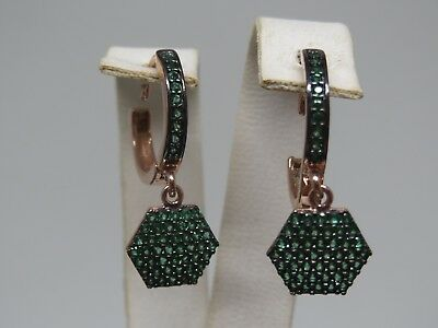 Turkish Handmade Jewelry 925 Sterling Silver Emerald Stone Ladies' Earrings