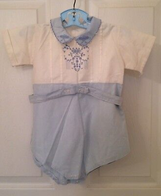 vintage 1950's baby boy romper, cotton with embroidery