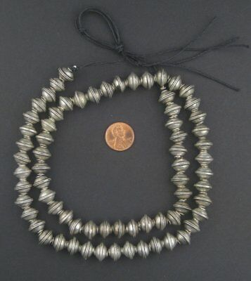 Berber Silver Bicone Beads 9x12mm Morocco African White Metal Large Hole