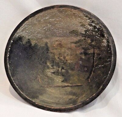 Antique Hand Painted Outdoor Scene Wooden Bowl
