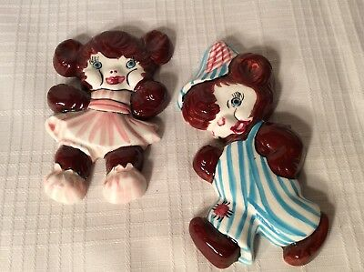 Cute Pair Of Porcelain Bear Figurine Wall Plaques  By Jade