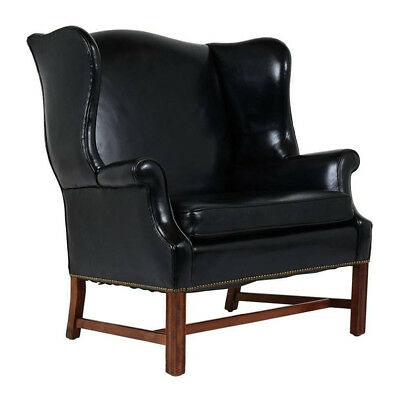 English 1900s Regency-style Wingback Leather Chair Wide Seat w/ Mahogany Legs