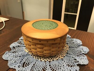 2003 LONGABERGER ACO COASTER BASKET with wooden Lid green ROOSTER