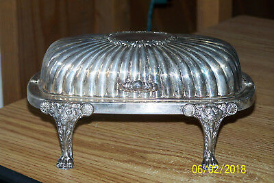 Vtg F.B. Rogers Silverplate Lion Head & Claw Footed Roll Top Butter Dish