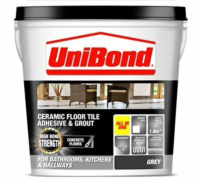UniBond Ceramic Floor Tile Large Adhesive/ Grout for Concrete Floors - Grey
