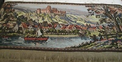 Vintage / Antique French Tapestry Lovely Scene Castle River Countryside