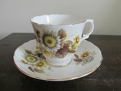 Crown Staffordshire Bone China England Demitasse Cup And Saucer Sunflower