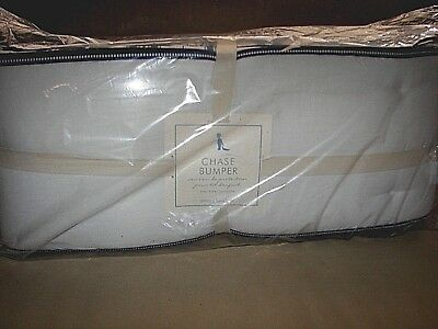 New Pottery Barn Kids CHASE BUMPER Crib Bedding Chambray Navy Blue White Stripe