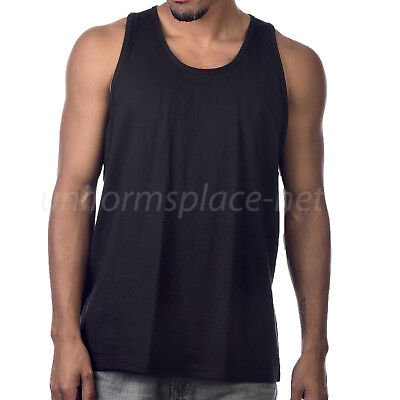 Mens T-Shirt TANK TOP Cotton Sleeveless Tee Shirts Black Color Medium