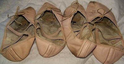 2 pair leather pink Ballet slippers dance shoes flats very used