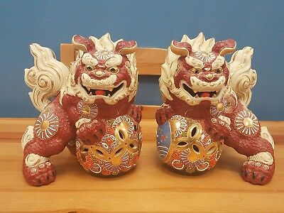 Two Kutani Style Japanese Foo Dog Figures Statues - Made in Japan - Nice Color!