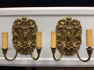 Pair of vintage brass cherub angel electric light fixtures/sconces