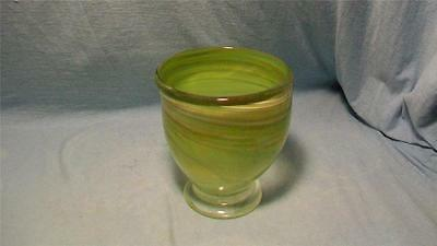 Yellow Green Art Glass Vase Artist Signed