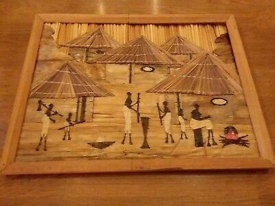 Handmade Vintage African Tribal Art Framed Picture Bamboo Shaved Wood