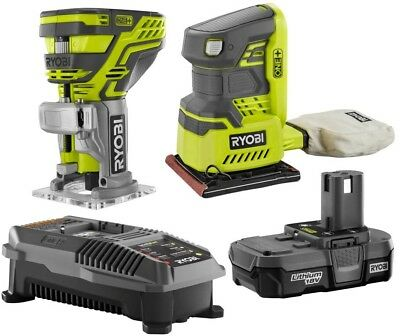 Ryobi Router Sander Combo Kit 18-Volt ONE+ Lithium-Ion 2-Tool 1.3 Ah Cordless