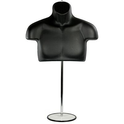 MN-447 Male Half Body T-Shirt Hanging Torso Mannequin Form w/ Adjustable Stand