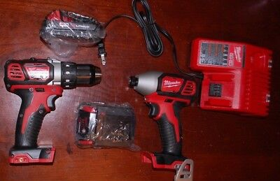 "Brand New Milwaukee 1/2"" Drill Driver 2606-20 1/4"" Impact Driver 2656-20 Combo"