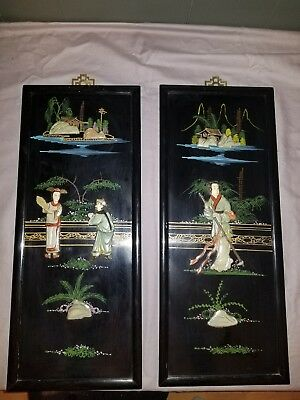 2 Vintage Oriental Black Laquer Mother of Pearl Decorative Hanging Wall Panels