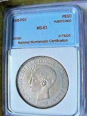 1895-Pgv Puerto Rico Silver Peso  Near Gem Uncultivated +  Extra Rare!! N/r