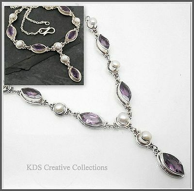 Sterling Silver Handcrafted Multi Gem Pendant Necklace,Amethyst, Mother of Pearl