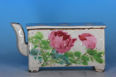 Small Chinese Famille Rose Porcelain Antique Ink Pot Scholars Table Item