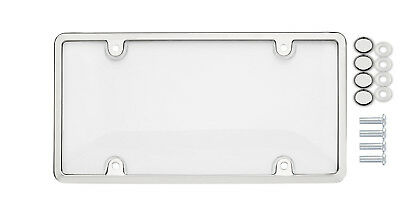 UNBREAKABLE Clear License Plate Shield Cover CHROME Frame for MERCEDES