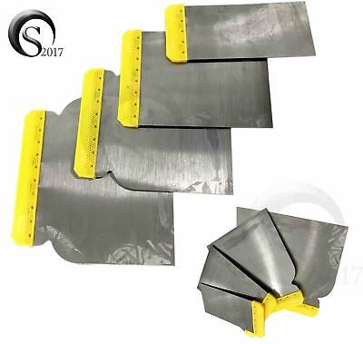 4 Pc Scrapper Set Steel Blades Putty Drywall Felxible Steel Tapping Kinfe