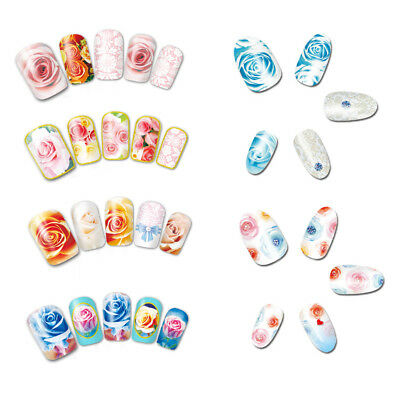 12 Designs/Set Water Transfer Rose Flower Decals Nail Art Sticker DIY Decor aa