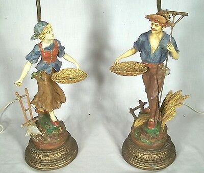 VINTAGE PAIR OF EARLY 20th  CENTURY FIGURAL FARMER+WIFE LAMPS IN ORIGINAL PAINT