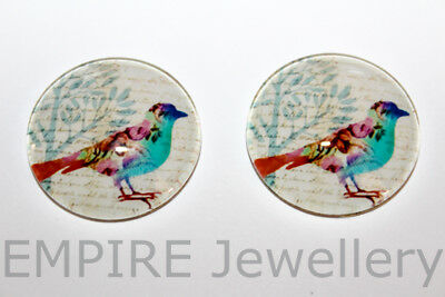 1 x Gorgeous Floral Bird 25x25mm Glass Dome Cabochon Cameo Birdy Finch Sparrow