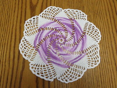 "Crochet Doily - White - Variegated Purple - 9"" Diameter"