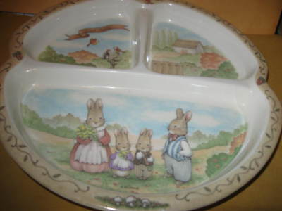 preowned Child PLATE 3-Section RABBITS peco melamine ware