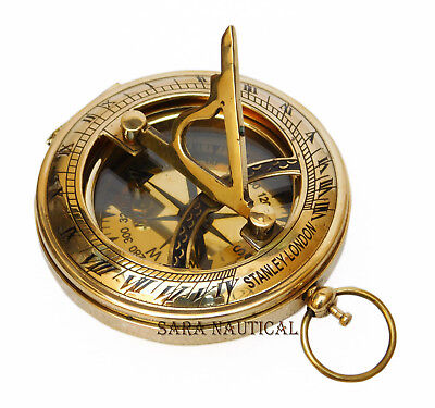 Nautical Brass Sundial Compass Necklace Old Vintage Pocket Style