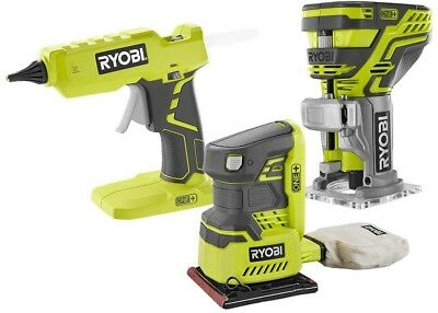 Ryobi 3-Tool Kit 18-Volt ONE+ Router Sander Glue Gun Assorted Durable Tools