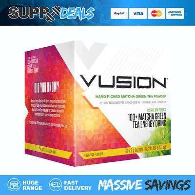 VUSION 100+ MATCHA GREEN - Box Containing 60 x 3g Sachets - Pineapple Flavour