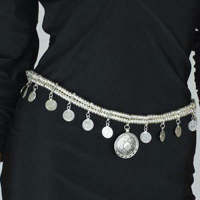 Gypsy Bohemian Silver Coin Hippy Belt Belly Dance Waist Body Chain - FREE POST