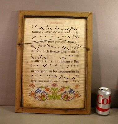 Early 2-SIDE Illuminated Antiphonal Music Leaf Vellum Manuscript Staves Initials