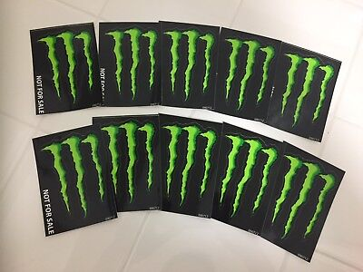 """LOT OF 10 MONSTER ENERGY GREEN M-CLAW DECAL STICKERS 4"""" x 2.75"""" BRAND NEW"""