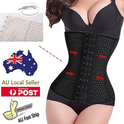 AU Body Steel Boned Waist Training Cincher Shaper Slimming Corset Women Trainer