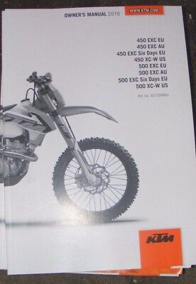 Ktm 450 Exc / 450Xc-W / 500 Exc / 500 Xc Owners Manual 2016  (All Models Listed)