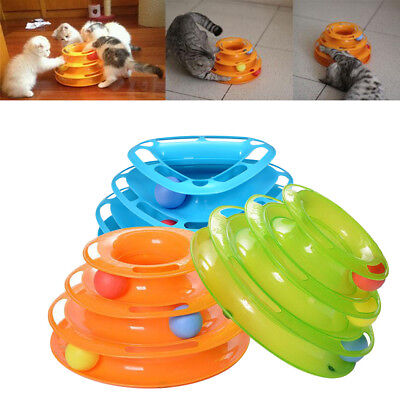 Pet Amusement Plate Trilaminar Toys Cat Kitty Crazy Ball Disk Interactive Toy UK