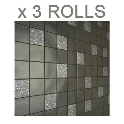 Black Grey Glitter Effect Tile Effect Wallpaper Granite Silver Holden Decor x 3