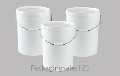 NEW - 3 X 25 Litre Plastic Bucket Pail With Snap On Lid & Handle - Food Grade