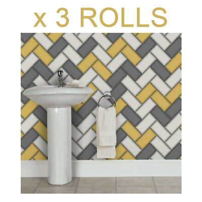 Yellow Grey Chevron Tile Wallpaper 3D Geometric Glitter Sparkle Holden Decor x 3