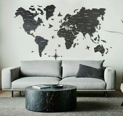 Home Decor Travel Wall Wood World Map Large Wall Art Choice Of Color XL Size