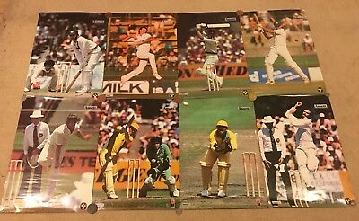 8 Vintage Ansett Airlines Australian Cricket Posters , Lillee, Hookes, Chappell